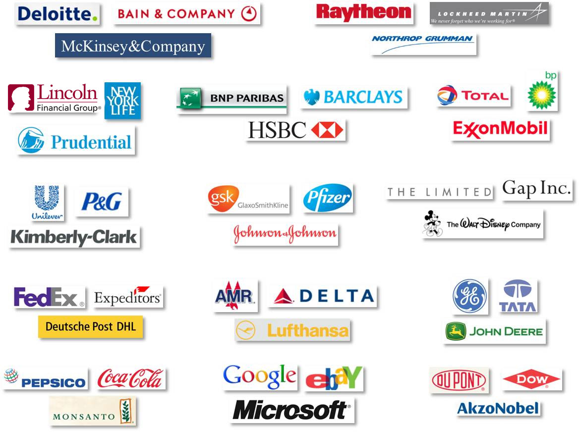 A sample of companies which have used Frontline Solvers