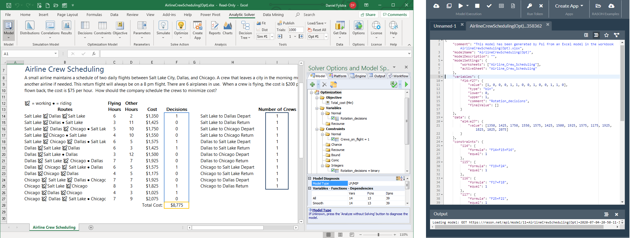 Airline Crew Scheduling in Excel and RASON